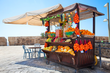 Shop with fresh fruits  juices in Akko,, Israel