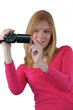 Woman filming with video camera