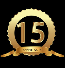 15th anniversary in gold seal vector