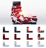 Vector letters set of a broken alphabet. Letter  l