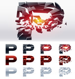 Vector letters set of a broken alphabet. Letter  p