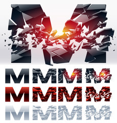 Vector letters set of a broken alphabet. Letter  m