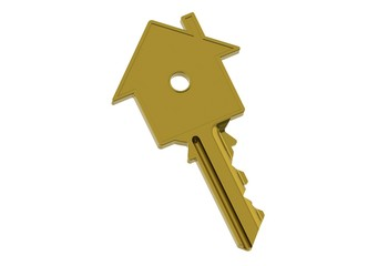 Golden house-shape key