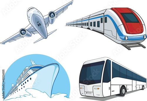 Transportation Model - Airplane, Cruise Ship, Train, Bus