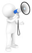 3d little human character with a white and Blue Megaphone.
