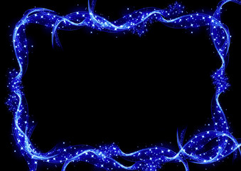 青い流れと煌めきによるメッセージボード