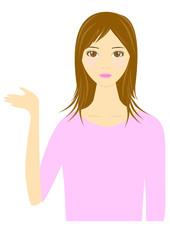 案内する女性のイラスト