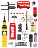 London city street icon set