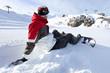 Snowboarder sat down