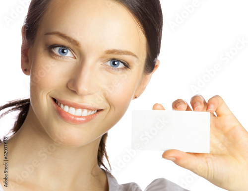Business woman giving blank business card, isolated
