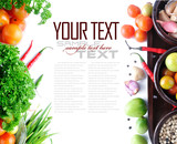 Fototapety Tomatos, chives, garlic, red chili, and parsley on white