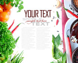 Tomatos, chives, garlic, red chili, rice and parsley