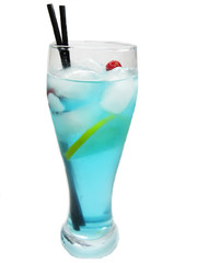 alcohol blue cocktail drink with ice