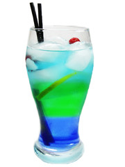 alcohol blue green cocktail drink with ice