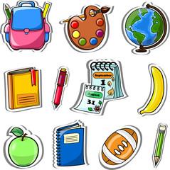 Мультфильм школьные сумки, карандаши, книги, тетради