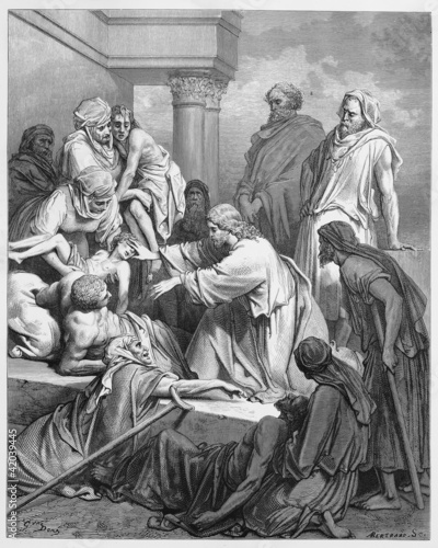 Jesus healing in the land of Gennesaret