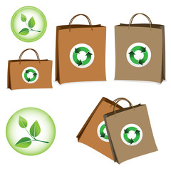 Bag with the sign of recycling.
