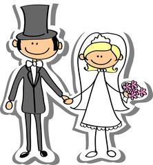 Свадебная фотография, жениху и невесте в любви, вектор