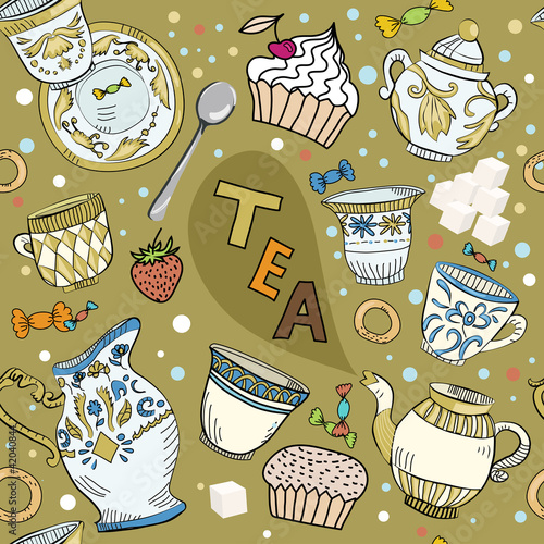Seamless Victorian tea time brawn pattern
