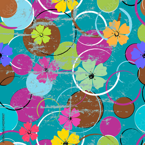 seamless background , abstract flowers and circles, grungy