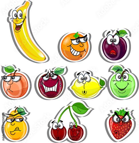 Постер, плакат: мультфильм фрукты, холст на подрамнике