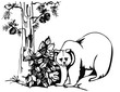 artistic sketch - bear in the forest with pine
