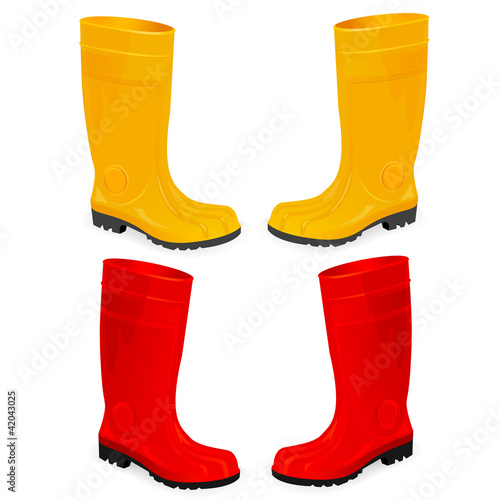 yellow and red rubber boots