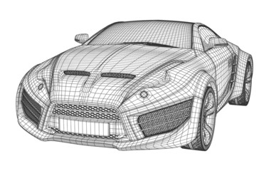 Sports car blueprint. Non branded concept car.