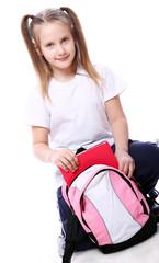 Cute girl with schoolbag