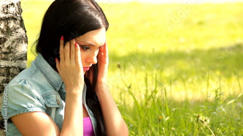 Beautiful woman looking depressed