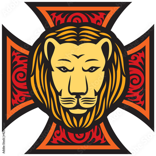 lion head and iron cross