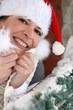 Jolly woman at Christmas