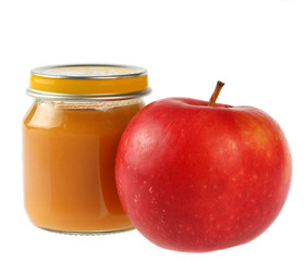 Baby food, apple and white background