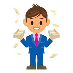 ビジネスマン イラスト 儲かる お金