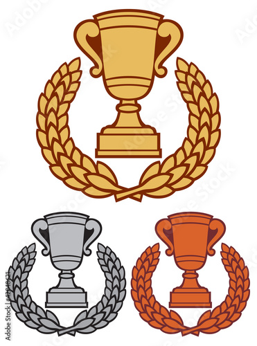 gold, bronze and silver trophy cup