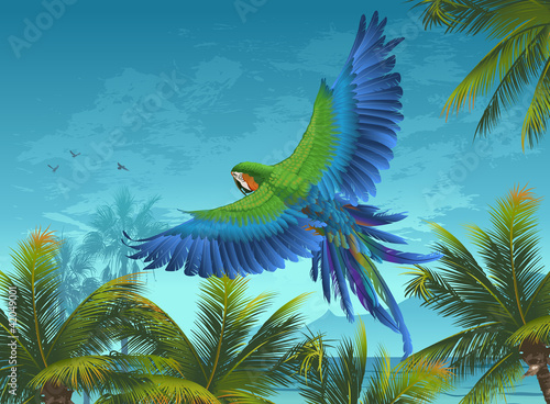 Amazon. Tropical background with parrots and palm trees.
