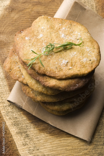 Homemade rustical crackers with rosemary
