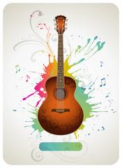 Guitar on a colorful splattered background