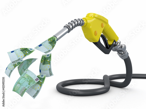 Gas pump nozzle and euro on white background