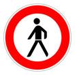 Verbot für Fußgänger – RGB-Rot