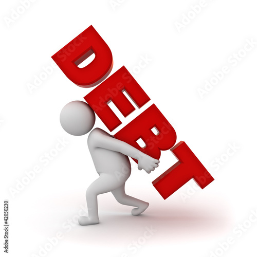 Man carrying word debt on white background
