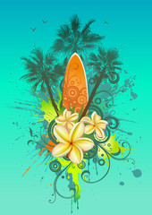 Abstract tropical background with a surfboard, palms and flowers