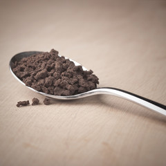 Instant coffee in the spoon