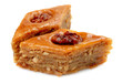 Oriental sweets baklava on a white background