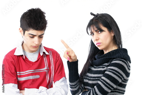 Strict parenting angry mother with teenage son