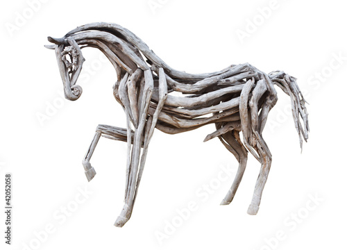 wood horse on white background.