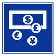 Señal aeropuerto simbolo cambio de divisas