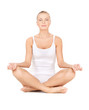 woman in cotton undrewear practicing lotus pose