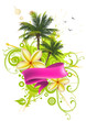 Ribbon, palm trees and tropical flowers