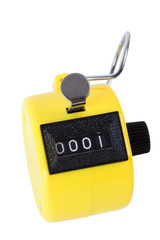Small yellow mechanical counter isolated on white background